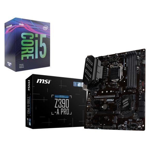 Pack Processeur Intel Core i5-9600KF + Carte Mère MSI Z390-A Pro (Via ODR de 40€)