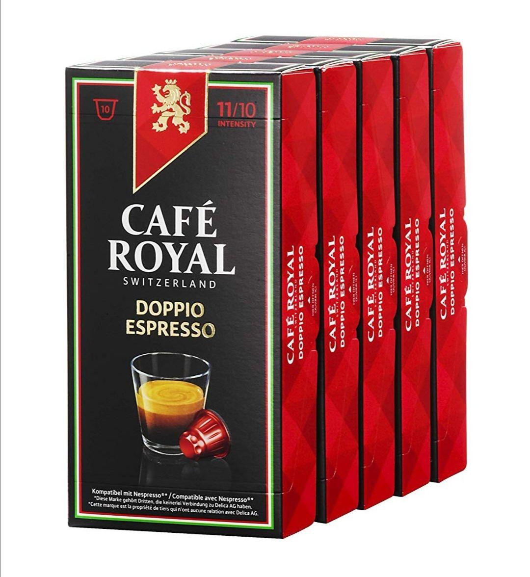 Lot de 50 capsules Café Royal Doppio Espresso compatibles Nespresso à 8.93€ (Lungo & Espresso à 9,20€)