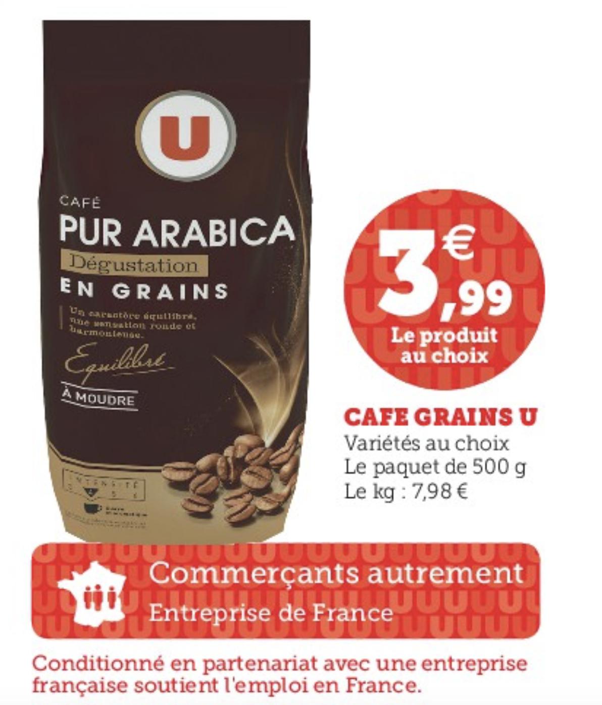Café en grains pur arabica - 500g (plusieurs variétés)