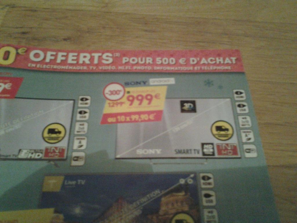 """TV 55"""" Sony KDL55W809C - Full HD, Smat TV, Wifi + Bon d'achat de 100€"""