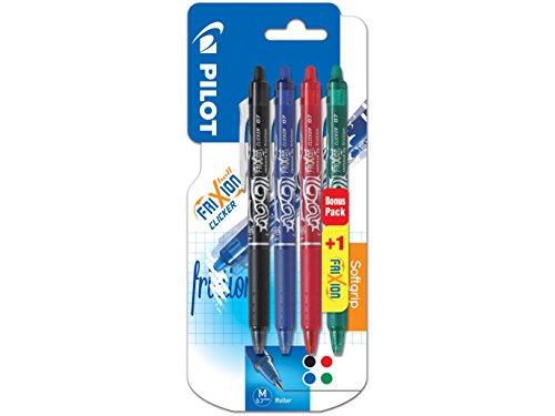 [Panier Plus] Lot de 4 couleurs stylos Pilot Blister 3+1 FriXion Ball Clicker 0.7 - Roller effaçable, Noir/Bleu/Rouge/Vert, Pointe moyenne