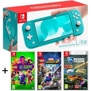Pack console portable Nintendo Switch Lite (turquoise) + Lego Marvel Super Heroes 2 + Lego DC Super-Villains + Rocket League - Collector