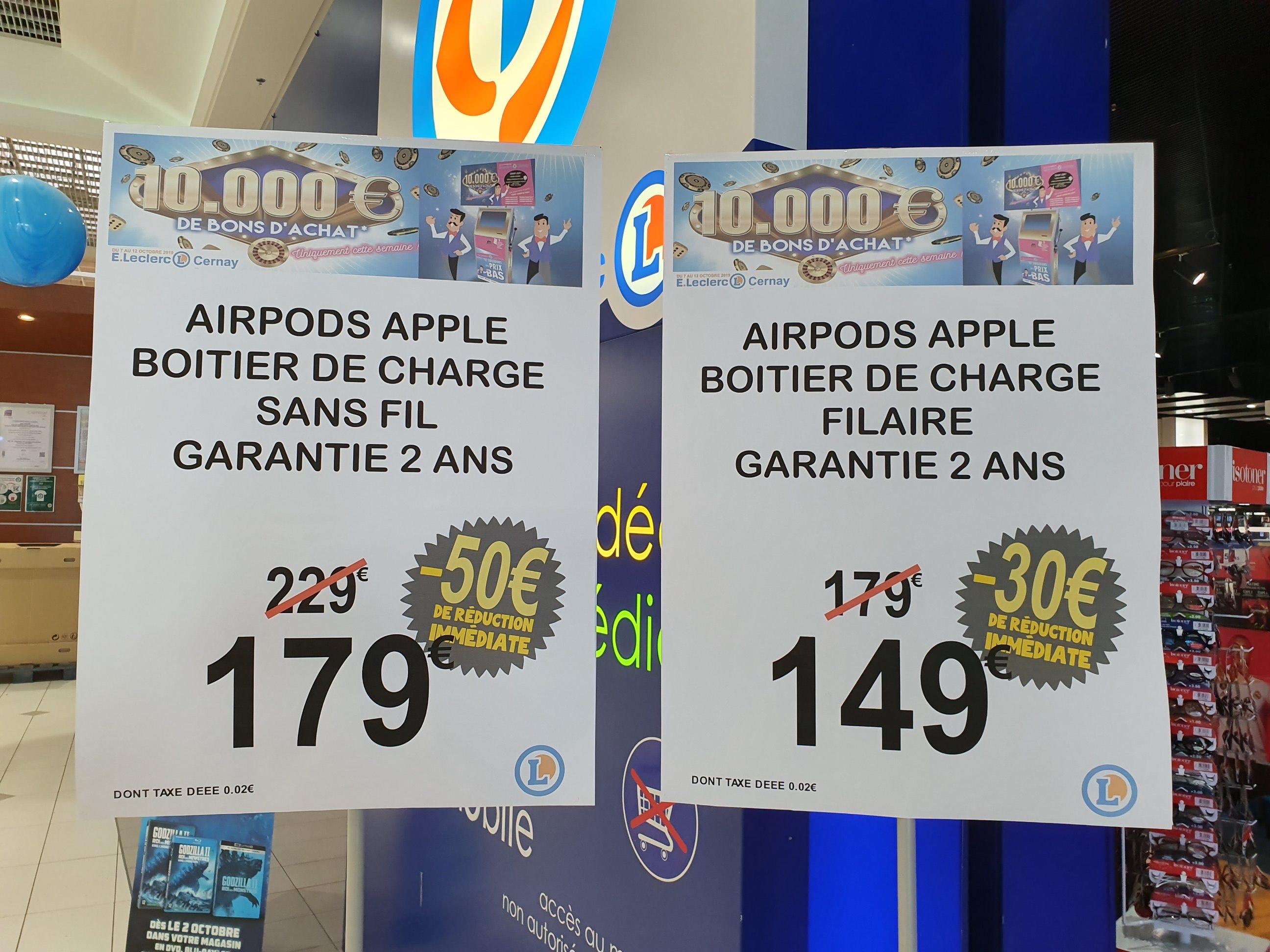 Écouteurs Intra-auriculaires sans-fil Apple AirPods 2 avec Boîtier de Charge Filaire à 149€ ou Sans-fil à 179€ - Cernay (68)
