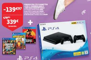Pack Console Sony PS4 1TO + 2 Manettes + GTA V + Borderlands 3 + Red Dead Redemption II (Frontaliers Luxembourg)