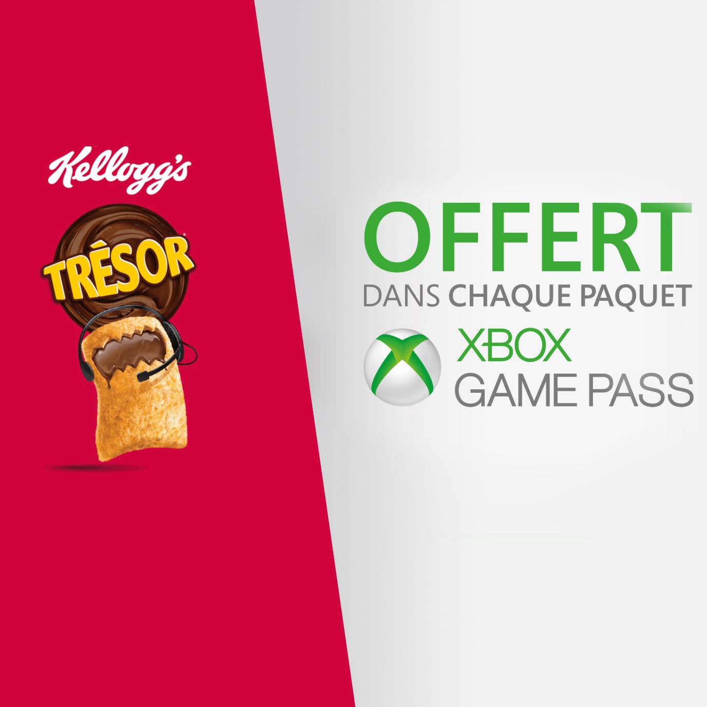 1 paquet de Trésor Kellogg's acheté = 7 jours d'Xbox Game Pass offerts