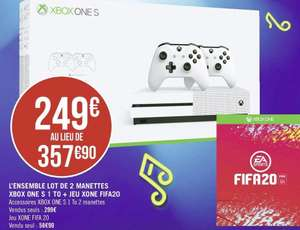 Pack Console Xbox One S - 1 To - 2ème Manette + Fifa 20