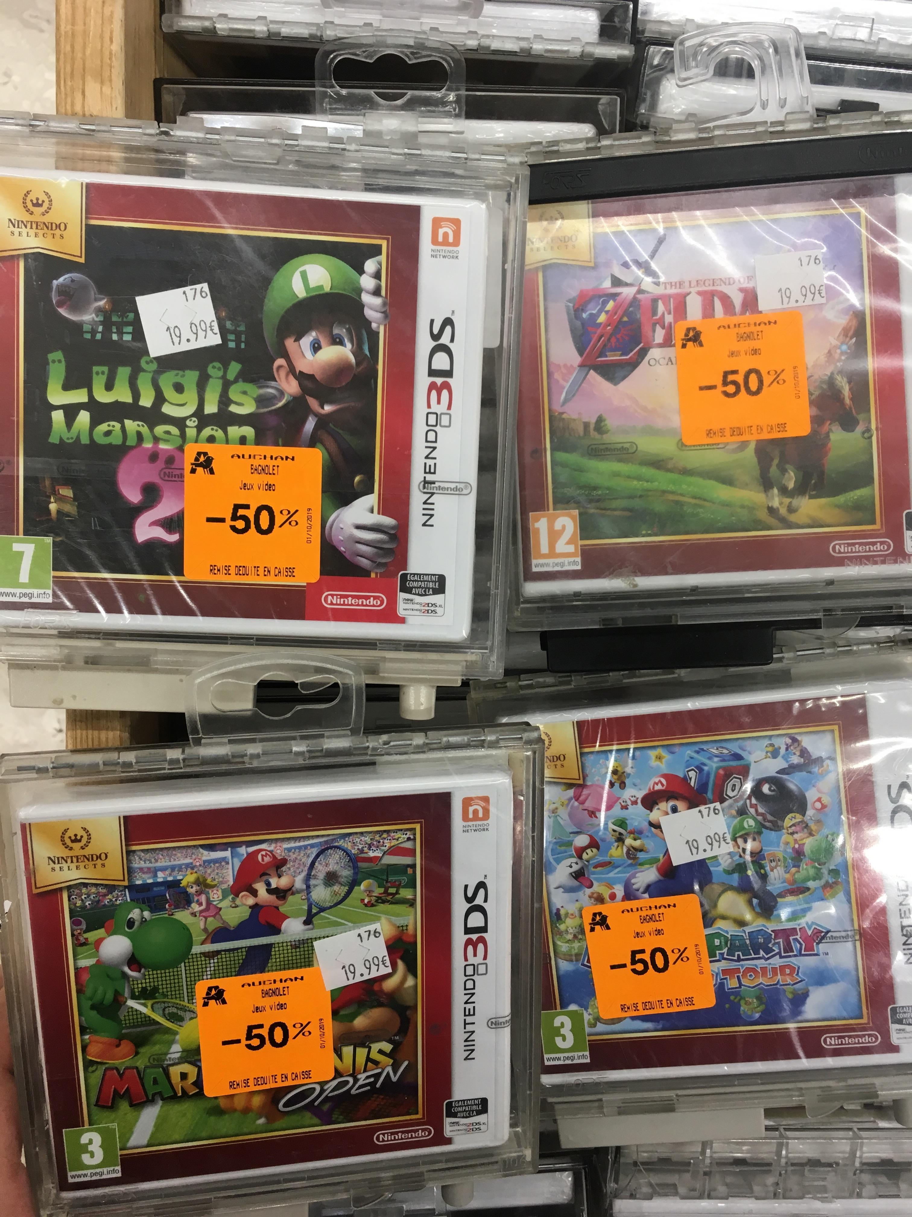 Sélection de jeux Nintendo 3DS à 10€ : Zelda, Luigi Mansion 2, Mario Tennis, Star Fox 64... - Auchan Bagnolet (93)