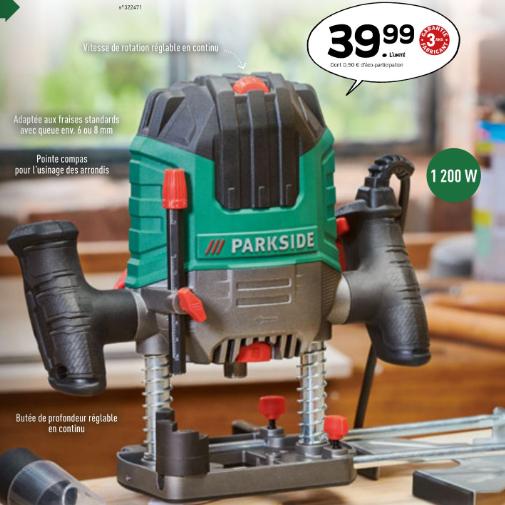 Défonceuse Parkside - 1200W + Accessoires