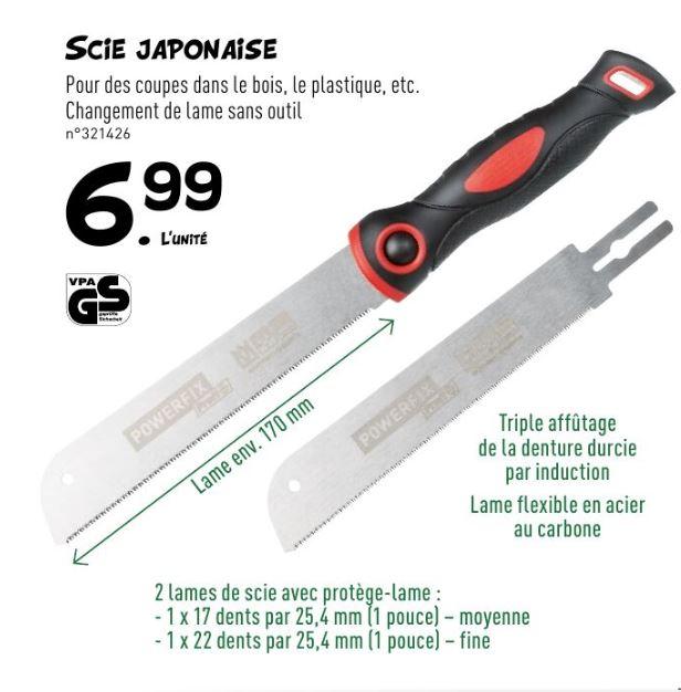 Scie japonaise à lame interchangeable (Kaeba) Powerfix - manche composite, 1 lame 170mm (17 dents), une lame  170 mm (22 dents)