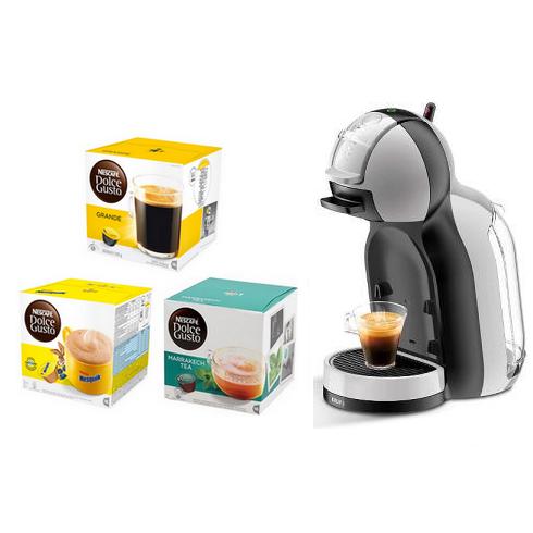 Machine à Capsules Krups Mini Me - Noire/Grise + 12 Paquets de Capsules de Boissons Chaudes Nescafé Dolce Gusto au choix