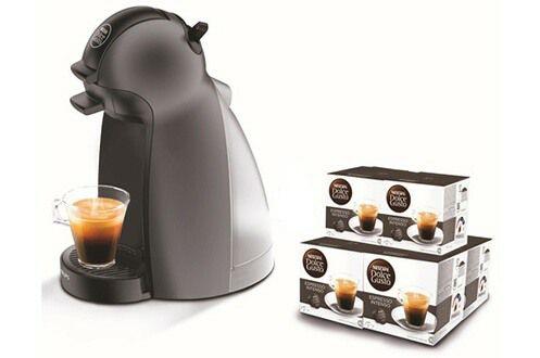 Cafetière à dosettes Krups Nescafé Dolce Gusto Piccolo YY1049FD + 6 paquets de café Dolce Gusto