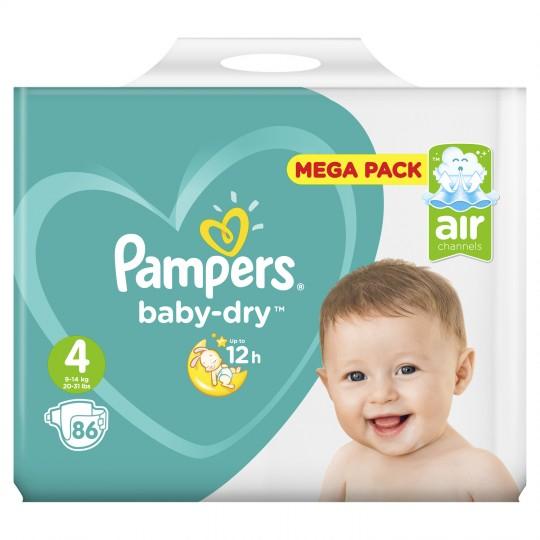 Mega Pack Couches Pampers Baby Dry - Tailles au choix (Via 17,25 € Carte de Fidélité + BDR)