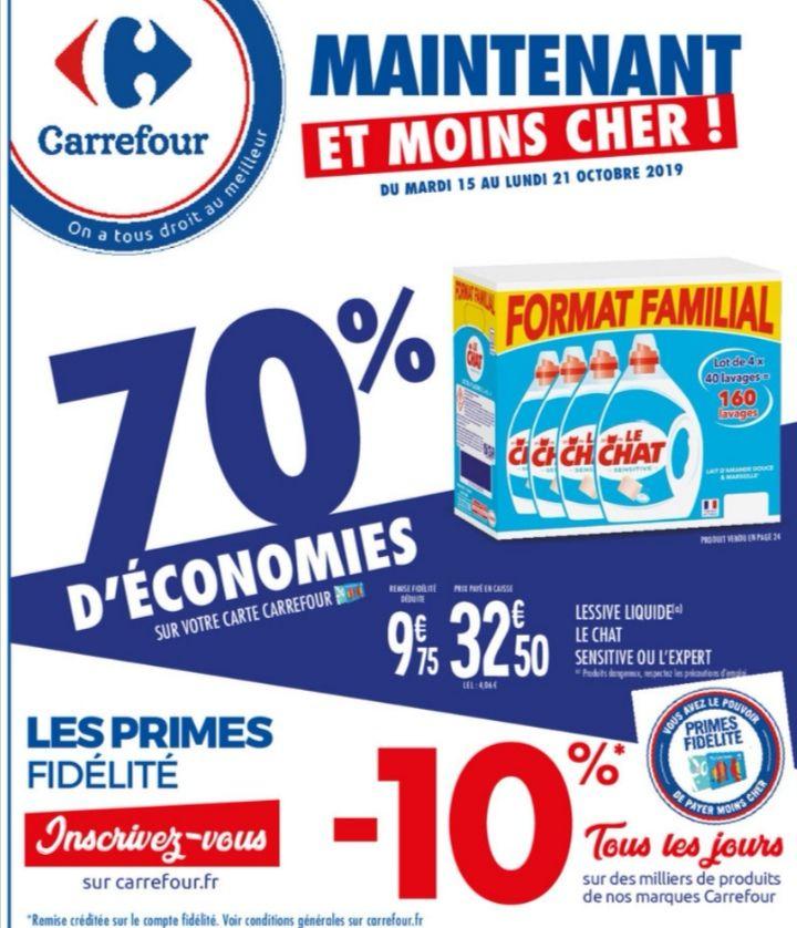 Lot de 4 bidons de lessive Le Chat L'Expert ou Sensitive - 160 lavages (via 22.75€ sur la carte fidelité)
