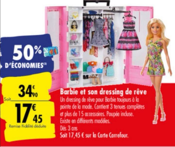 Barbie et son dressing de rêve 15 accessoires (Via 17,45€ sur carte de fidélité)