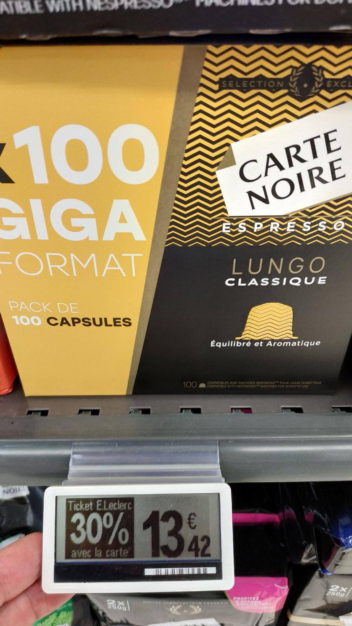 Paquet de 100 dosettes de café Carte Noire (Nespresso) - différentes variétés - Pont Sainte Maxence (60) + ticket Leclerc