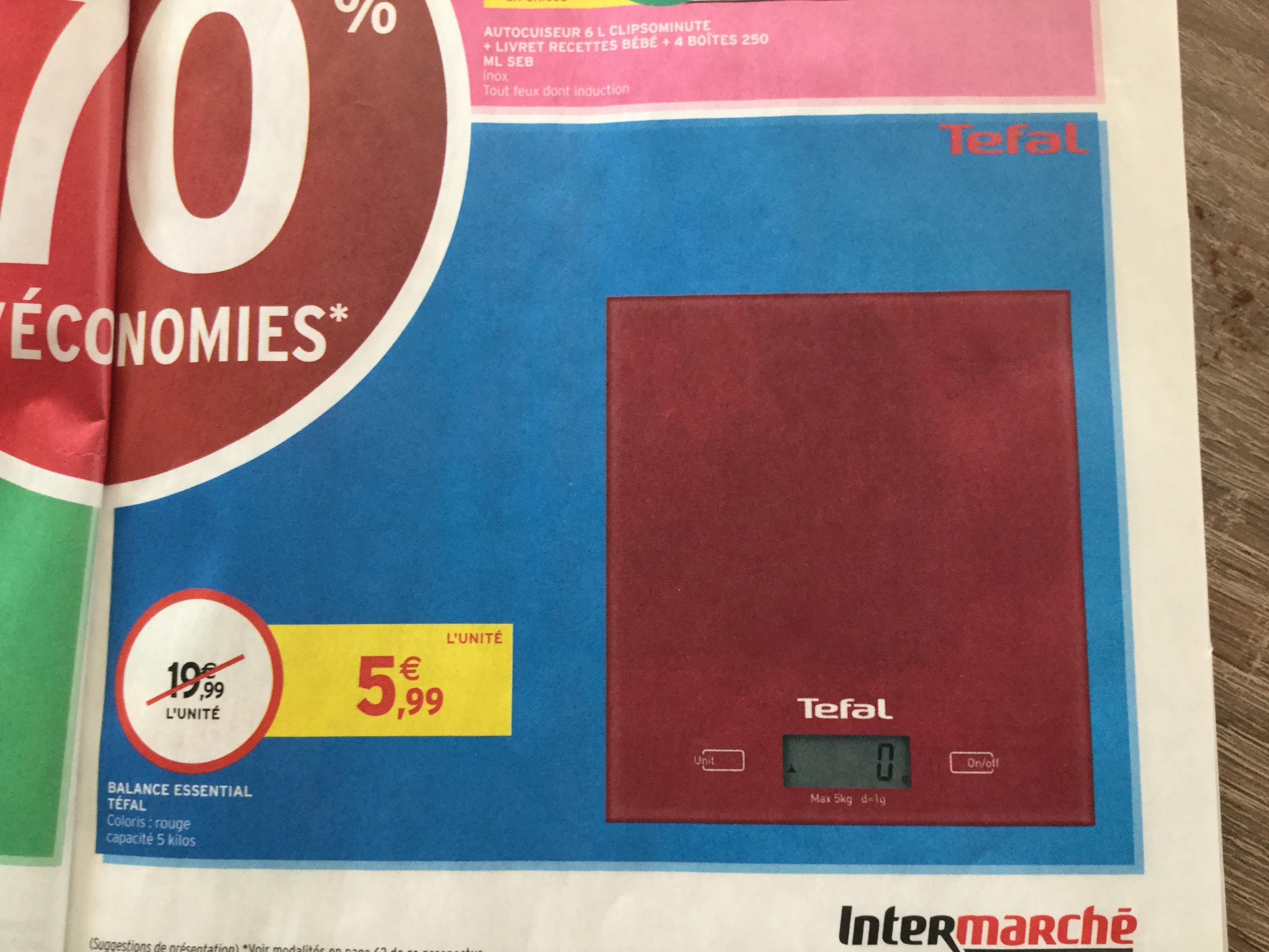 Balance de cuisine Tefal Essential - rouge, 5 kg max.