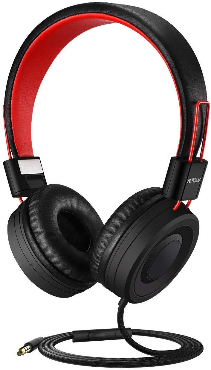 Casque filaire Pliable Mpow CH7 - Microphone, Bouton multifonction et Contrôle du volume (Noir/Rouge) - Vendeur tiers