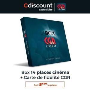 14 places de cinéma CGR physiques (valables dans l'ensemble du réseau) + carte de fidélité CGR avec 200 points (1 place de cinéma)