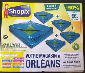 Set de 5 bâches multiusage - 2×3m (Saran 45)