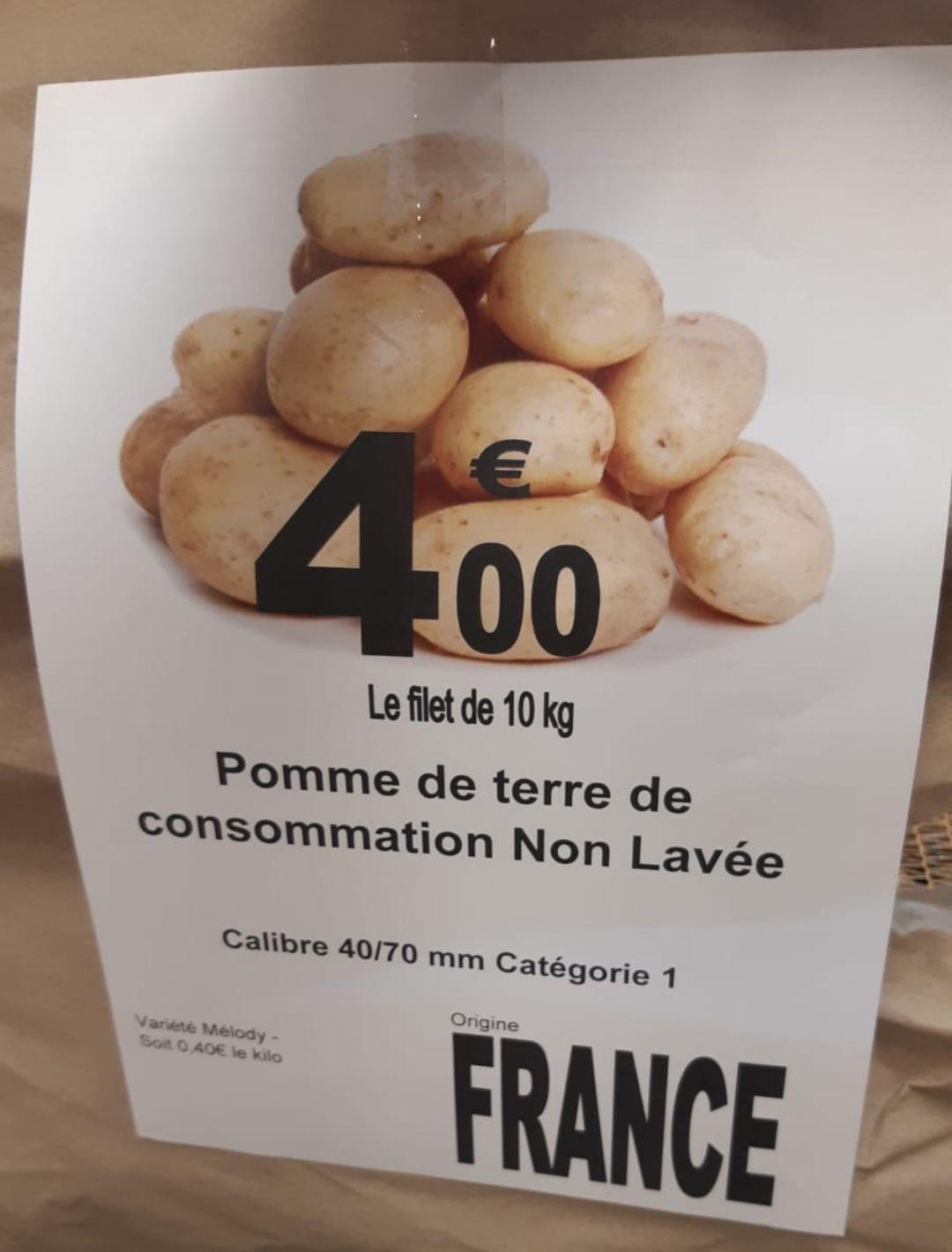 Sachet de 10Kg de Pommes de terres - variété Melody - Carrefour Market Bourges Aeroport (18)
