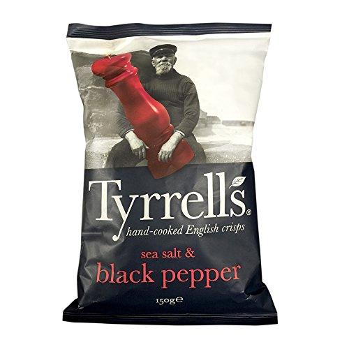 Lot de 12 paquets de Chips Lisses Tyrrell's Sel de Mer Poivre Noir - 12 x 150G