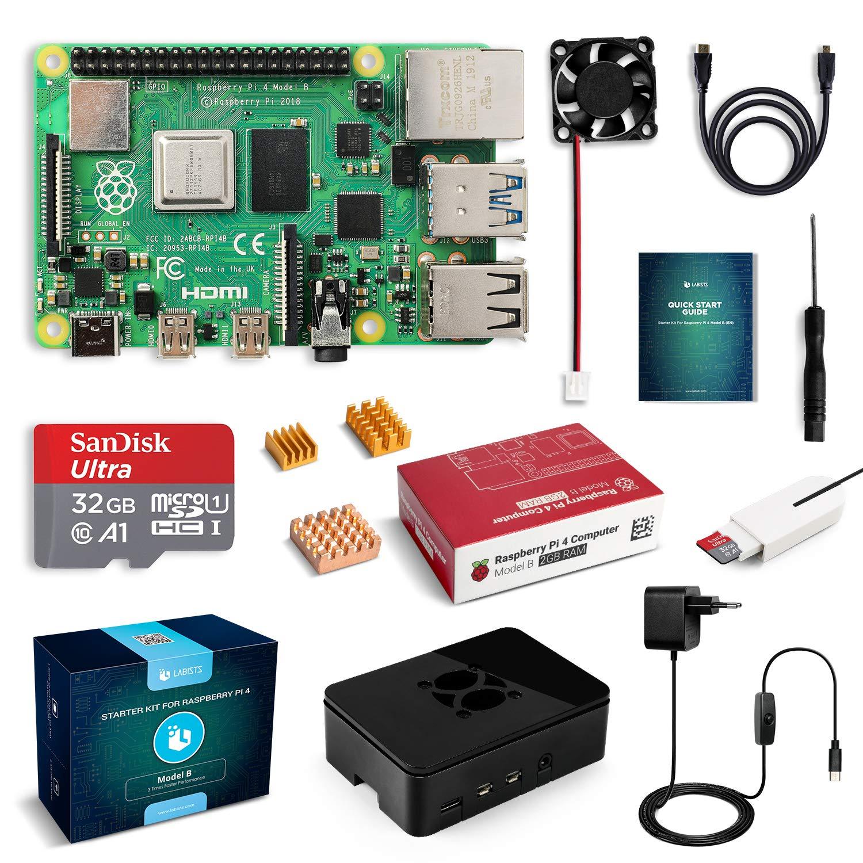 Kit de démarrage Labists : Raspberry Pi 4 Modèle B (4 B) + Accessoires (vendeur tiers)