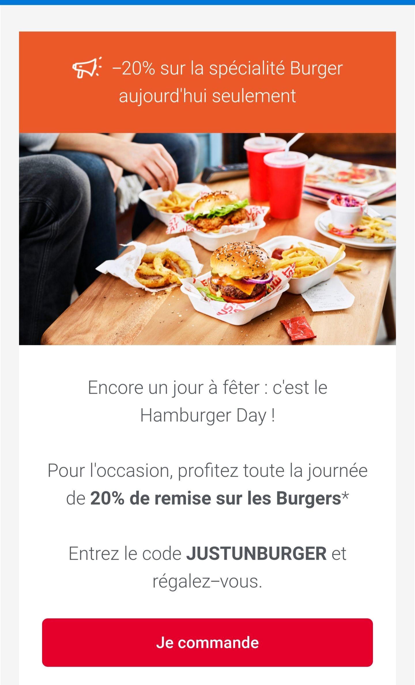 20% de remise sur les burgers