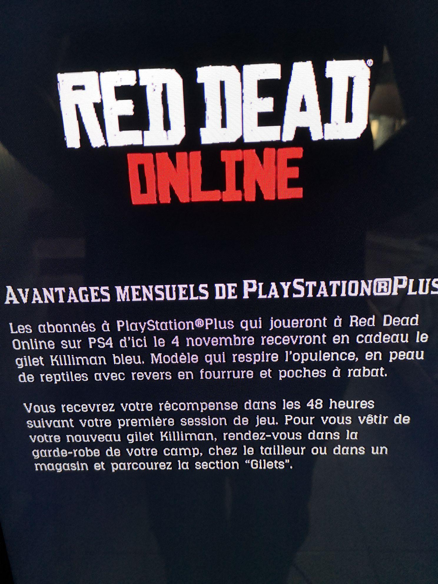 [PS Plus] Un Gilet Killiman offert sur le Jeu Red Dead Redemption 2 (Red Dead Online) pour toute connexion
