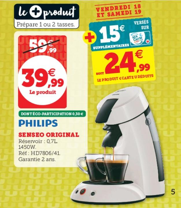 Cafetière à dosettes Senseo original Philips (Via 15€ sur la Carte de Fidélité)