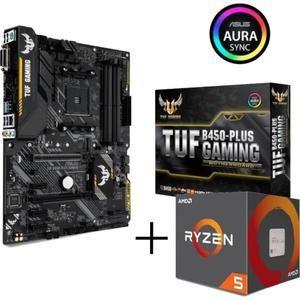 Carte Mère Asus TUF B450-Plus Gaming (M.2, USB Type-C, RGB) + Processeur AMD Ryzen 5 2600 (Via ODR de 35€)
