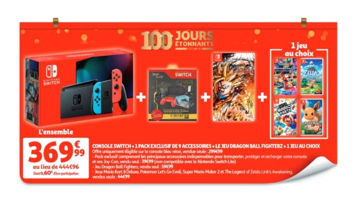 Console Nintendo Switch + set d'accessoires + Dragon Ball's FinghterZ + 1 jeu au choix parmi une sélection