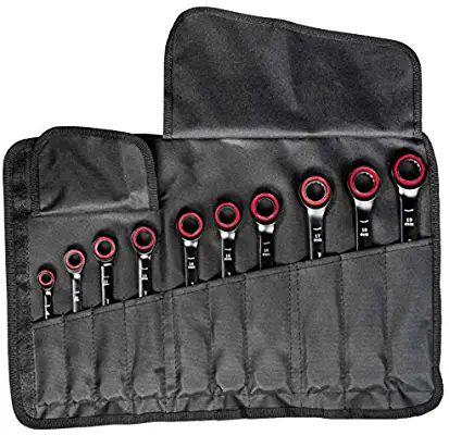 Set de 10 Clés Mixtes à Cliquet Bosch Professional (1600A016BU) - 8/10/12/13/14/15/16/17/18/19 mm, dans étui