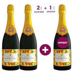Lot de 3 Champagnes Charles de Cazanove Cazanova Arlequin Brut AOC - 3 x 75 cl