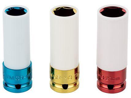Set de 3 douilles pour clé à chocs - 17, 19 et 21 mm