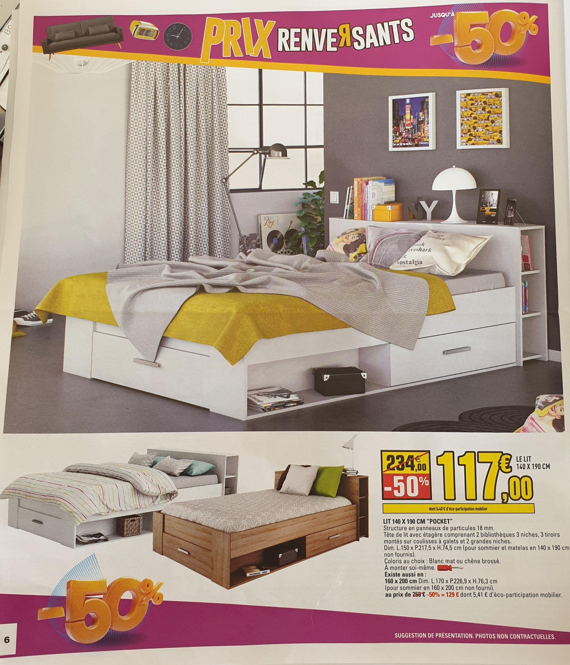 Structure de lit Pocket - avec tiroirs, 140x190 cm