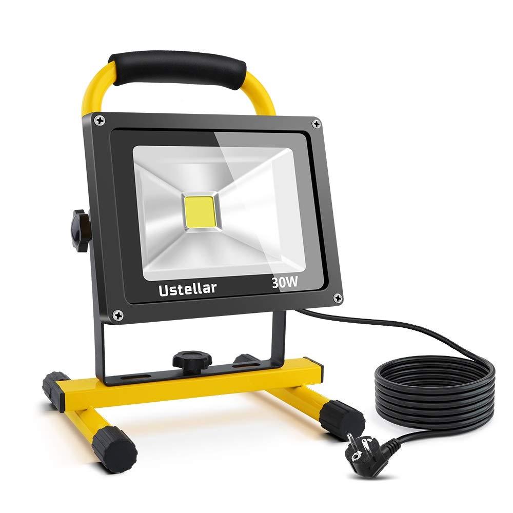 Projecteur de chantier LED 30W Ustellar - LED Cob, 2400Lm (équivalent 150-200W), 6000K Blanc, Etanche IP65, câble 5 m