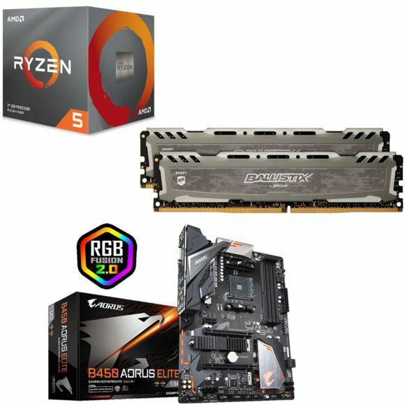 Processeur AMDRyzen 5 3600 Wraith Stealth Edition + Kit RAM Sport LT Gris - 8 Go (4 Go x 2) 2666 Mhz, CL16 SR + Carte mère B450 Aorus Elite