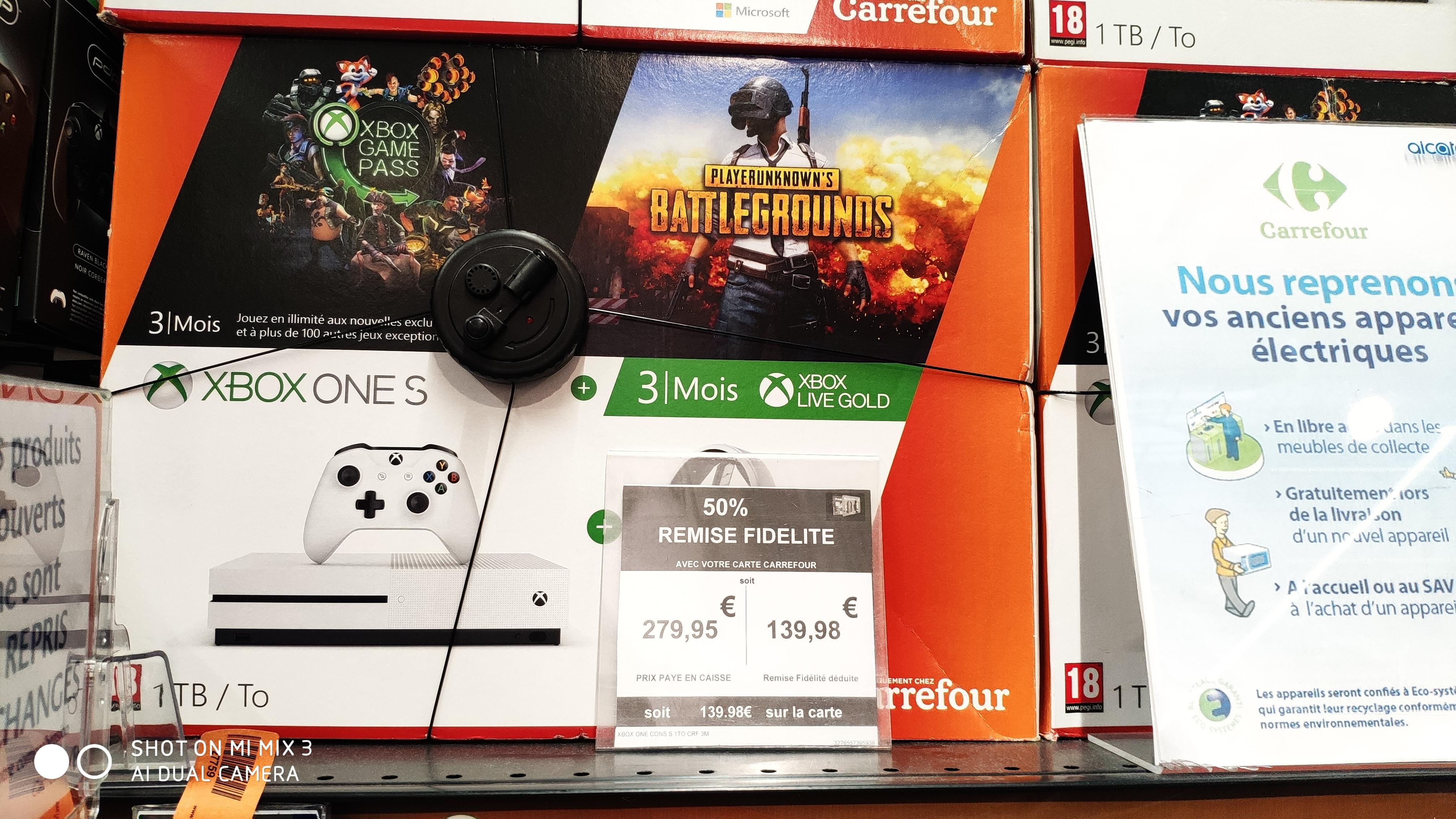 Pack console Microsoft Xbox One S (1 To) + PUBG + 3 mois d'Xbox Game Pass (via 139.98€ sur la carte de fidélité) - Tourville-la-Rivière (76)