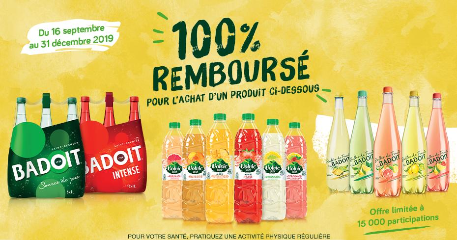 1 produit Volvic Badoit 100% remboursé parmi une sélection pour les 15000 premières participations (Via e-ODR - badoitvolvicrembourse.com)