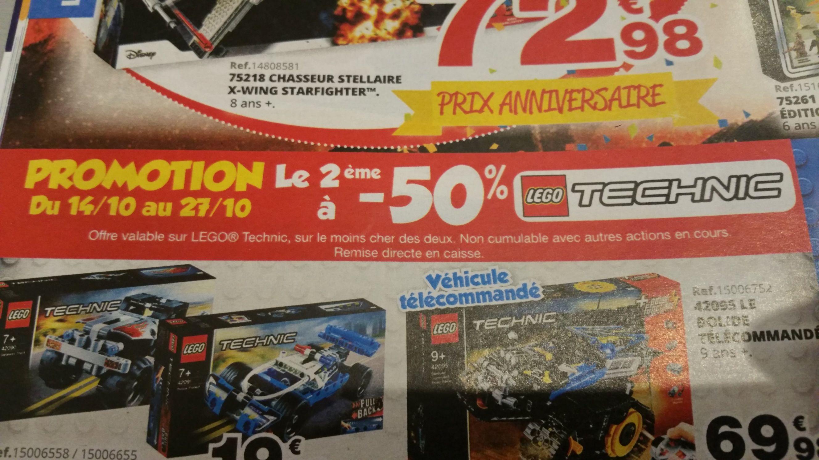 50% de réduction immédiate sur le second article Lego Technic acheté (Le moins cher des 2)