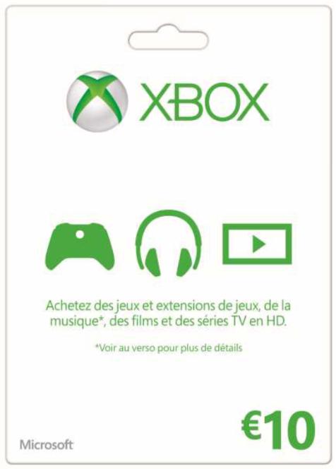Carte Xbox Live de 10€ (via l'application mobile)