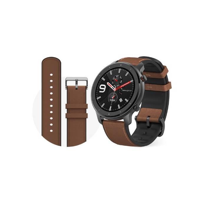 Montre connectée Xiaomi Amazfit GTR, Noir, cuir ou silicone (Frontaliers Suisse)