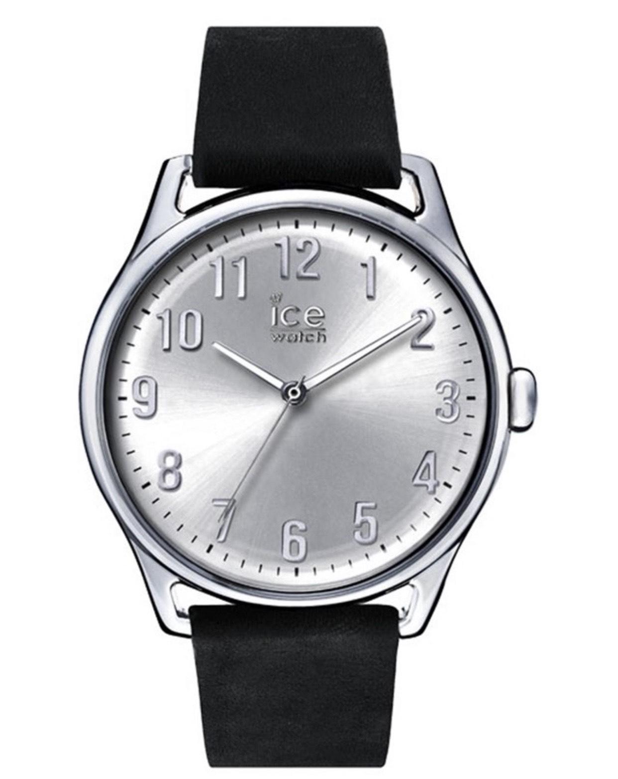 Sélection de montre Ice Watch en promotion - Ex: Montre à quartz en cuir ICE Time Large - Noir et argenté