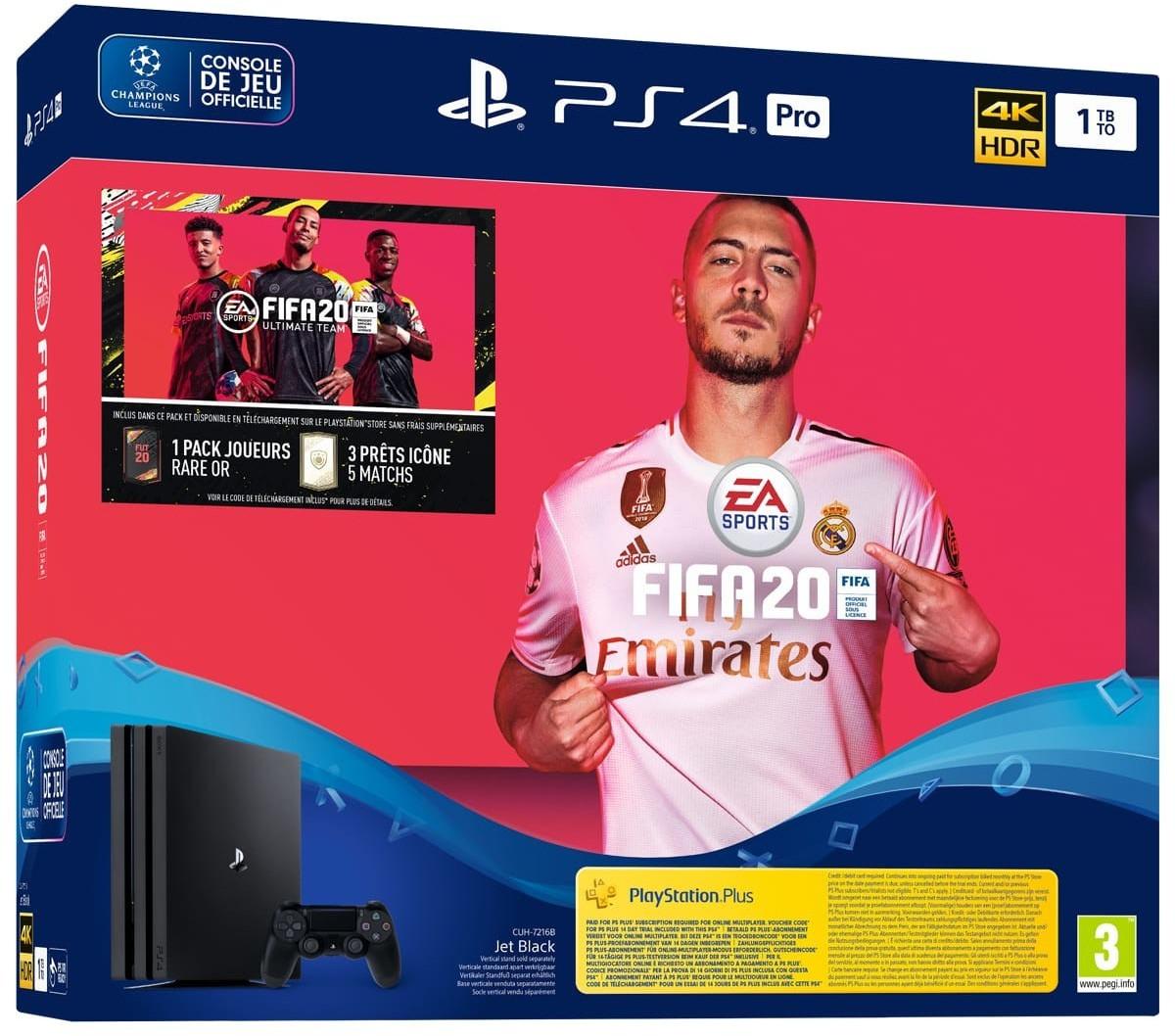 Pack console PS4 Pro + FIFA 20 + 14 jours d'abonnement PS Plus