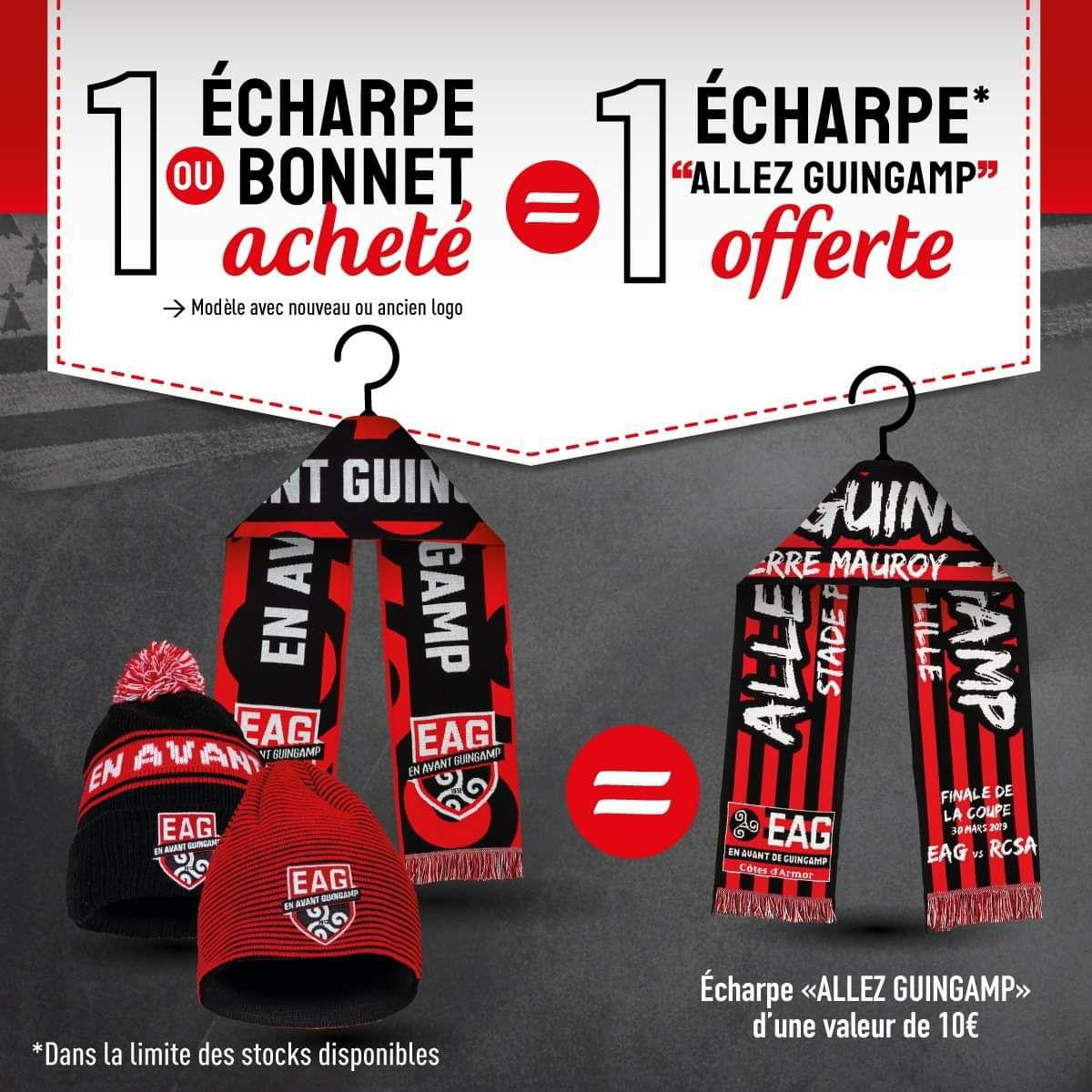 1 écharpe ou 1 bonnet En avant Guingamp acheté (ancien ou nouveau logo) = 1 écharpe Allez Guingamp offerte - Boutique.EAGuingamp.com