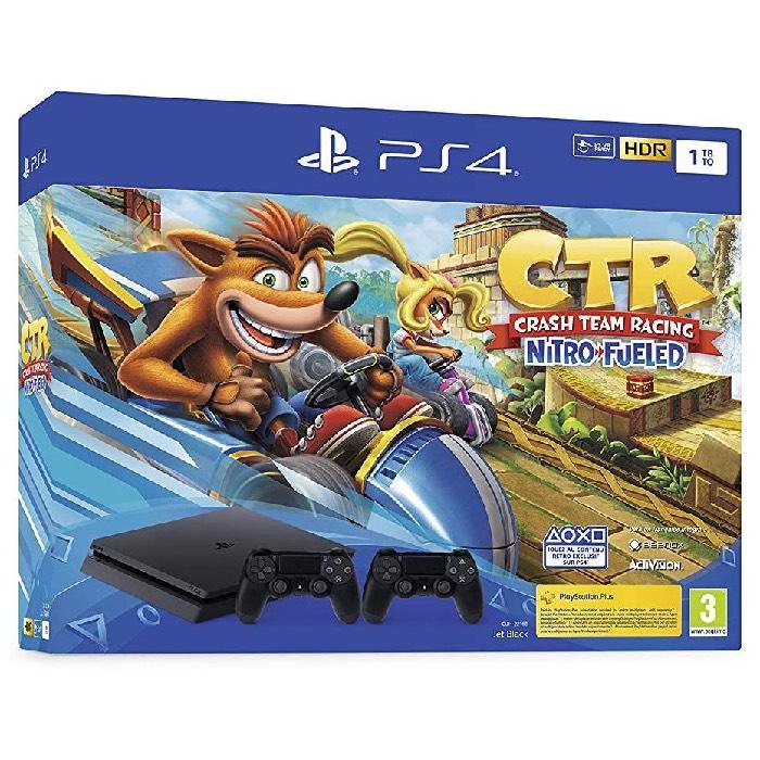 Pack Console Sony PS4 Slim (Noir) - 1 To + Crash Team Racing Nitro-Fueled + 2ème Manette