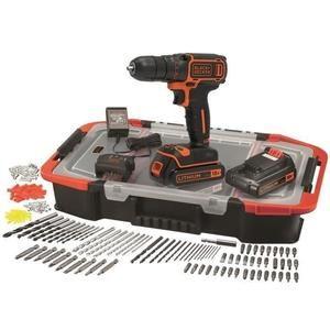 Perceuse-visseuse Sans-fil Black & Decker BDCDC18BAST-QW + Coffret + 2 Batteries + Accessoires