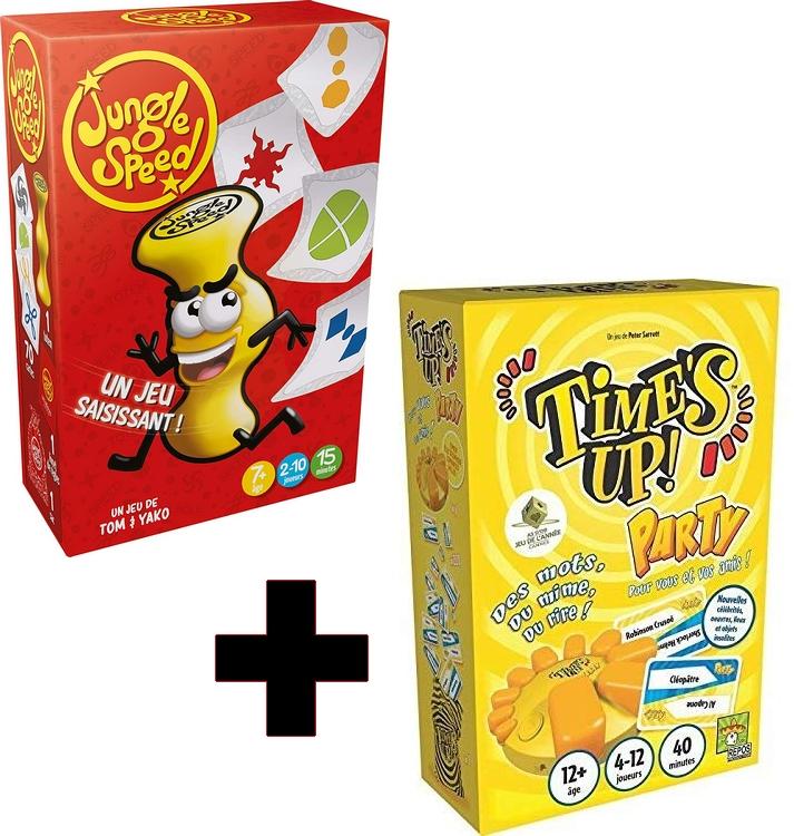 Pack de 2 jeux de société Asmodée Jungle Speed + Time's Up (via 2.5€ sur la carte de fidélité)