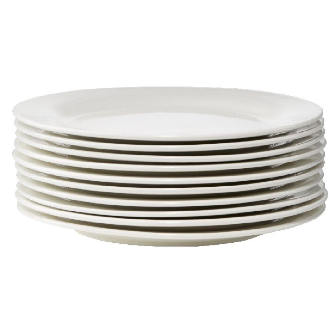 Lot de 10 Assiettes à dessert ronde céramique - Blanc, ø19 cm