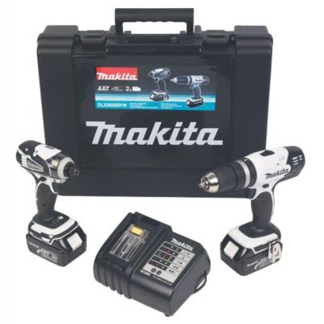 Kit Makita DLX2020SW 18V : Perceuse à percussion DHP453ZW + Visseuse à chocs DTD146ZW + 2 Batteries 3.0Ah + Chargeur + Mallette